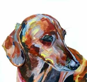 Sausage dog painting Jean ballands