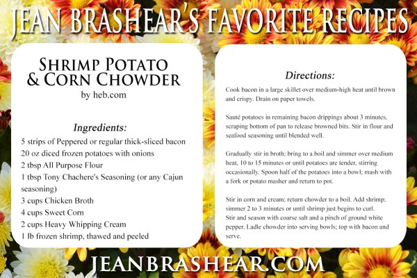 Shrimp Potato and Corn Chowder Recipe by Jean Brashear
