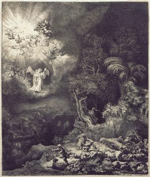 Painting of angel appearing to shepherds on Christmas