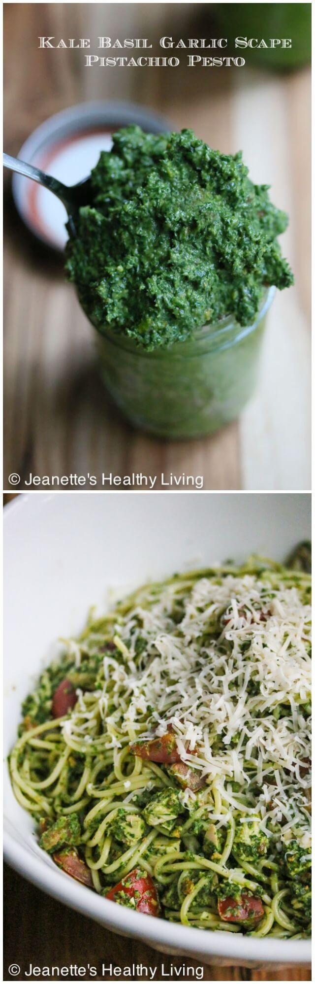 Kale Basil Garlic Scape Pistachio Pesto © Jeanette's Healthy Living