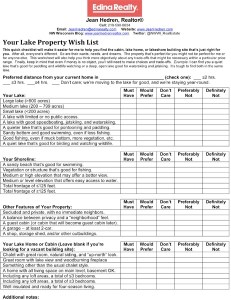 lake home checklist