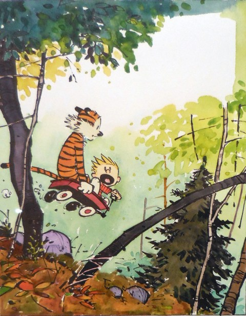 Another watercolor from the Exploring Calvin and Hobbes show.