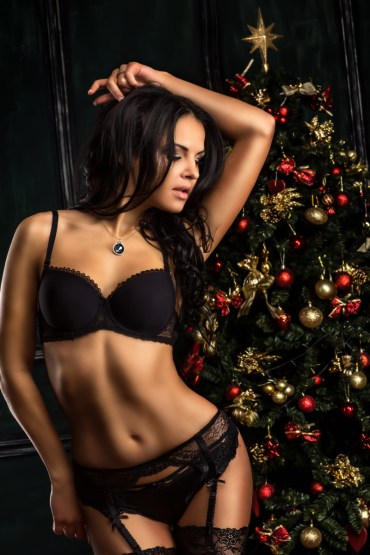 Sexy girl with Chrismas Tree