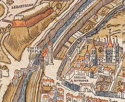 Plan de Paris vers 1550 porte du Temple