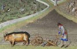 Paysans au champ au Moyen Âge
