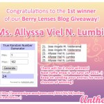 Congratulations to the winners of our Berry Lenses Blog Giveaway! :)