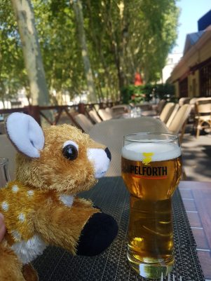 """Want some beer, cute deer? (""""Is it sparkling barley tea?"""")"""