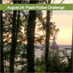 "Graphic of tree-lined shore and ""August 24: Flash Fiction Challenge"""