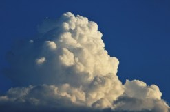 Look at the puffy cauliflower-like edges of this cloud. This cloud is a cumulus cloud.
