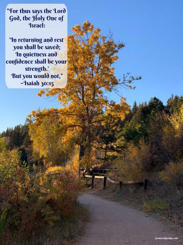 "A meme that says, ""For thus says the Lord God, the Holy One of Israel: 'In returning and rest you shall be saved; in quietness and confidence shall be your strength.' But you would not,"" ~Isaiah 30:15 on a backdrop of a picture of a tall yellow-leafed tree with a blue sky backdrop"
