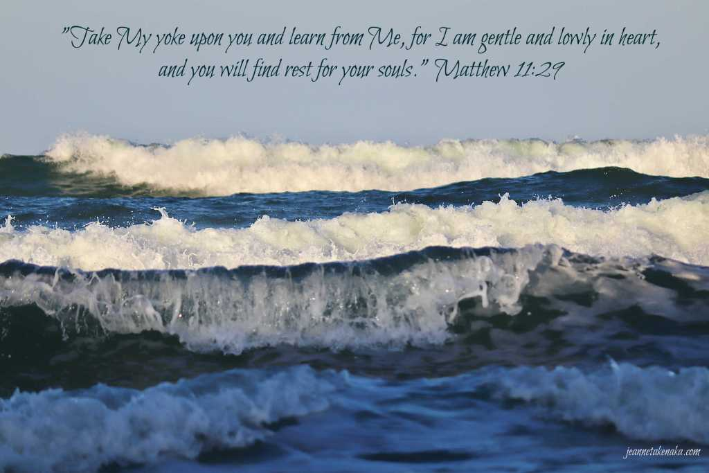 "A meme with the words: ""'Take My yoke upon you and learn from Me, for I am gentle and lowly in heart, and you will find rest for your soul's.' Matthew 11:29 on a backdrop of a multitude of waves with whitecaps."