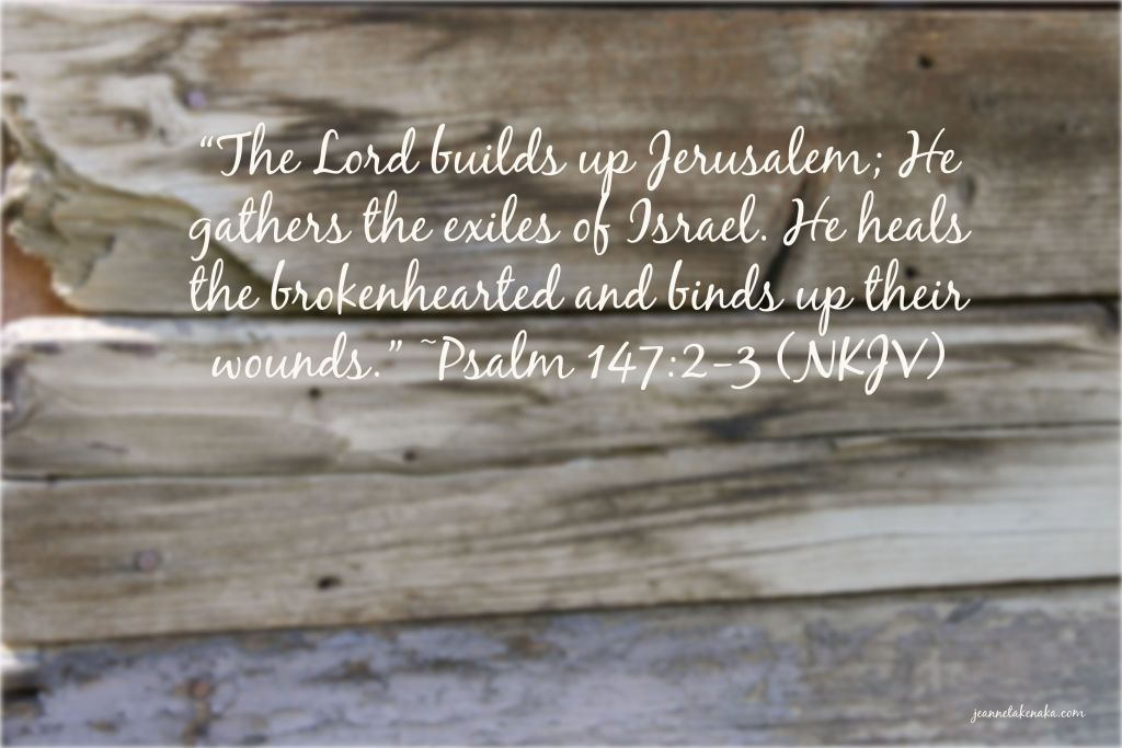"""Meme with the words: """"The Lord builds up Jerusalem; He gathers the exiles of Israel. He heals the brokenhearted and binds up their wounds."""" ~Psalm 147:2-3 on a backdrop of a wooden wall"""