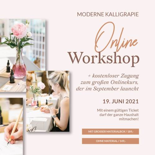 Moderne Kalligraphie Workshop Onlinekurs Zoom Hamburg Bremen