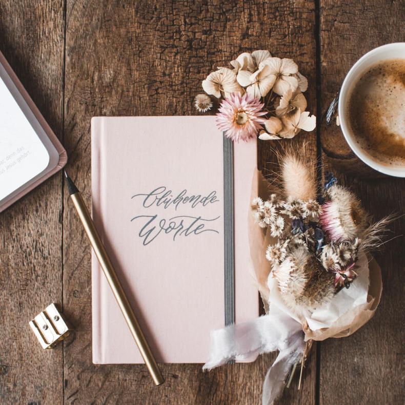 Notizbuch Leineneinband grau rosa Blühende Worte Geschenk rosa Frau Mädchen Kalligraphie Kalligrafie