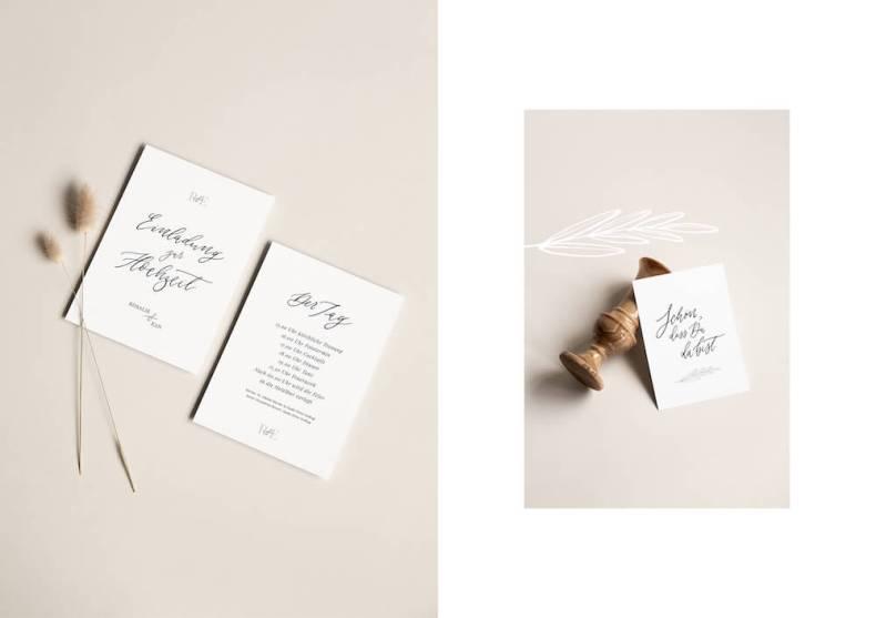 Hochzeitseinladungen Kalligraphie Kalligrafie Luxus Einladung Hochzeitseinladung Strandhochzeit Meer günstig text ausgefallen spitze Vintage drucken sprüche diy set kraftpapier