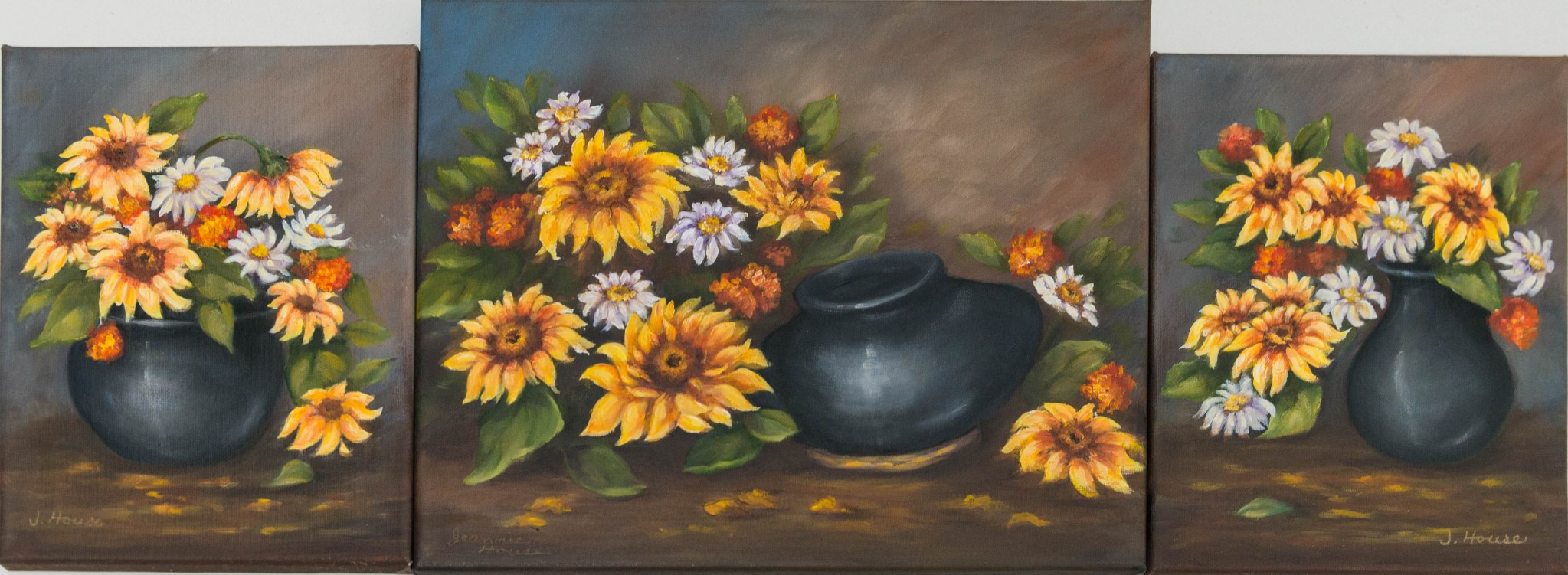 Flower Triptych by Jeannie House