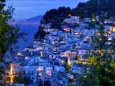 Evening View of Capri Town from via Castello. Capri. Bay of Naples. Campania. Italy.
