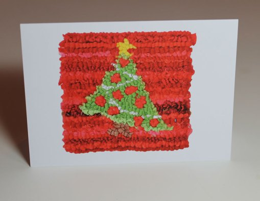 Green on Red Christmas Tree Greeting Card