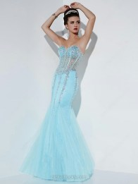 Sky Blue Satin Tulle Sweetheart Floor-length Trumpet/Mermaid Rhinestone Ball Dress