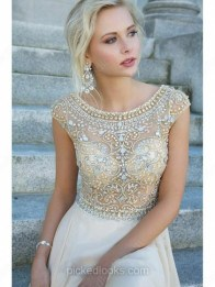 Champagne A-line Scoop Neck Tulle Chiffon Floor-length Beading Prom Dress