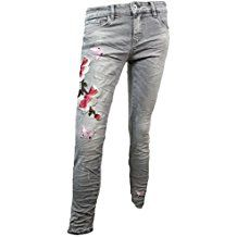 Lexxury Damen Stretch Jeans Röhre Skinny Butterfly Flower Stick
