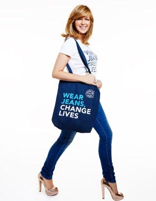 Kate Garraway modelling Jeans for Genes campaign t-shirt and denim bag