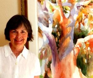 Jean Warren with her Oak painting