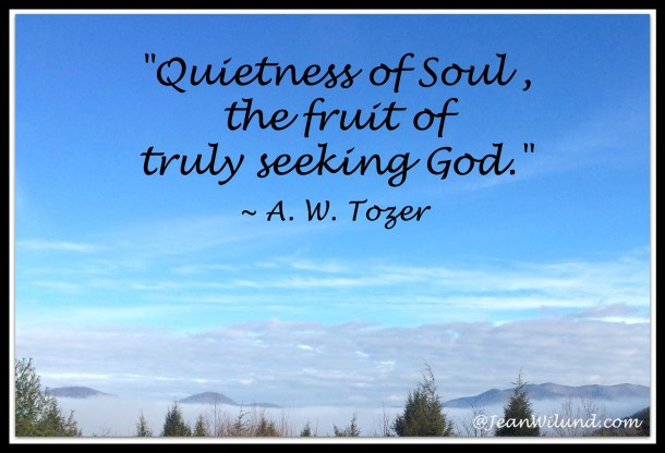"""""""Quietness of Soul, the fruit of truly seeking God."""" ~ A. W. Tozer's Classic """"The Pursuit of God"""""""