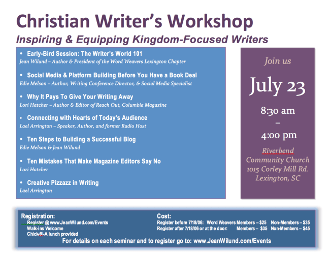 Word Weavers Christian Writers Summer Seminar Flyer July 23, 2016, Lexington SC