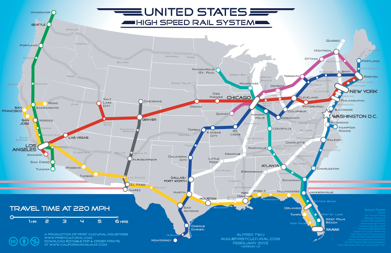 US High Speed Rail System - proposed by Alfred Twu