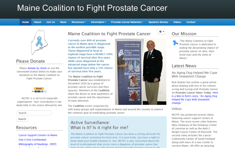 screenshot of Maine Coalition to Fight Prostate Cancer