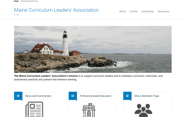 screenshot of Maine Curriculum Leaders' Association
