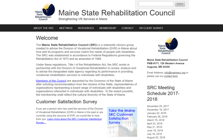 screenshot of Maine State Rehab Council