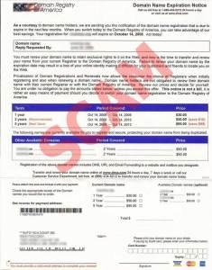 screenshot of domain scam letter