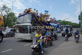 Boca Junior fans headed to a game.