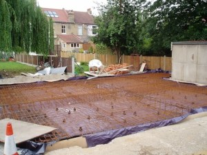 Garage first - 2 tons steel and 95 tons concrete foundations