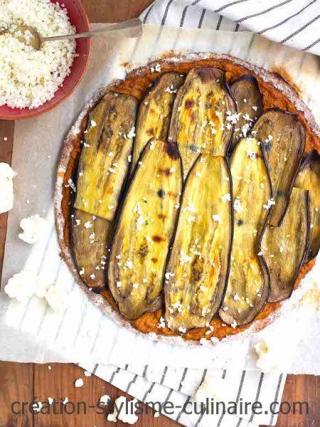 Tarte fine sans gluten à l'aubergine