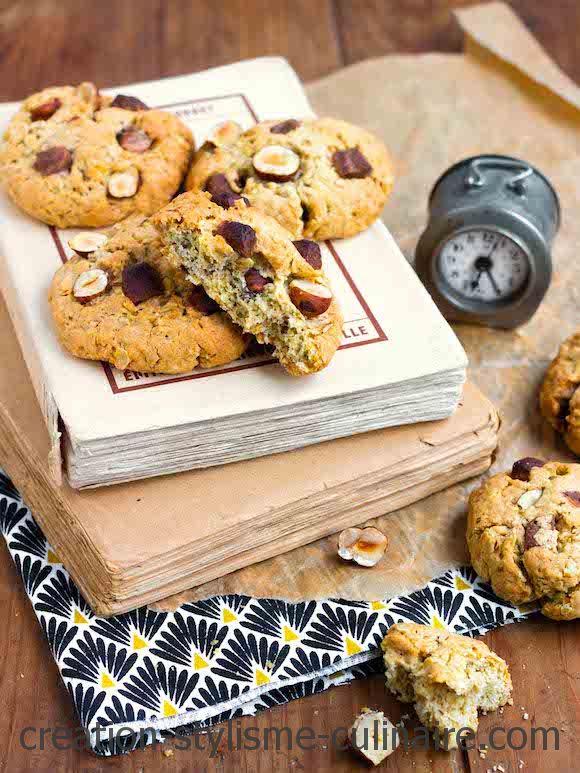 cookies sans gluten chocolat noisette flocons avoine