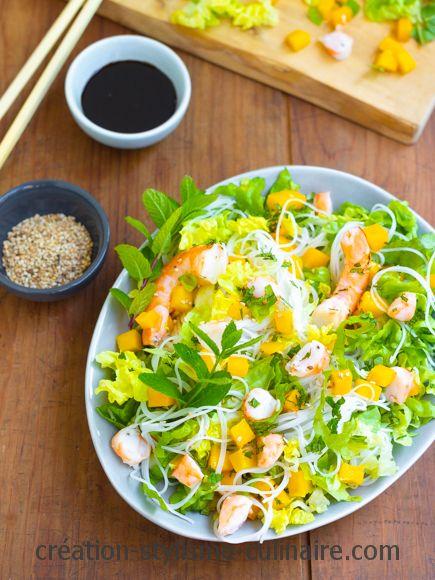 Salade crevettes mangue vermicelles de rizSalade crevettes mangue vermicelles de riz