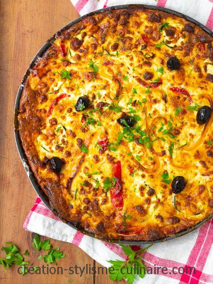 Quiche sans pâte poivrons courgettes olives feta