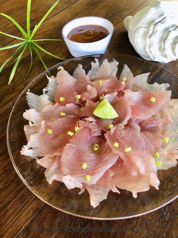 Sashimi de thon blanc, recette polynésienne