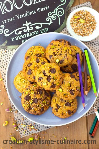 Cookies sans gluten pistache sarrasin chocolat