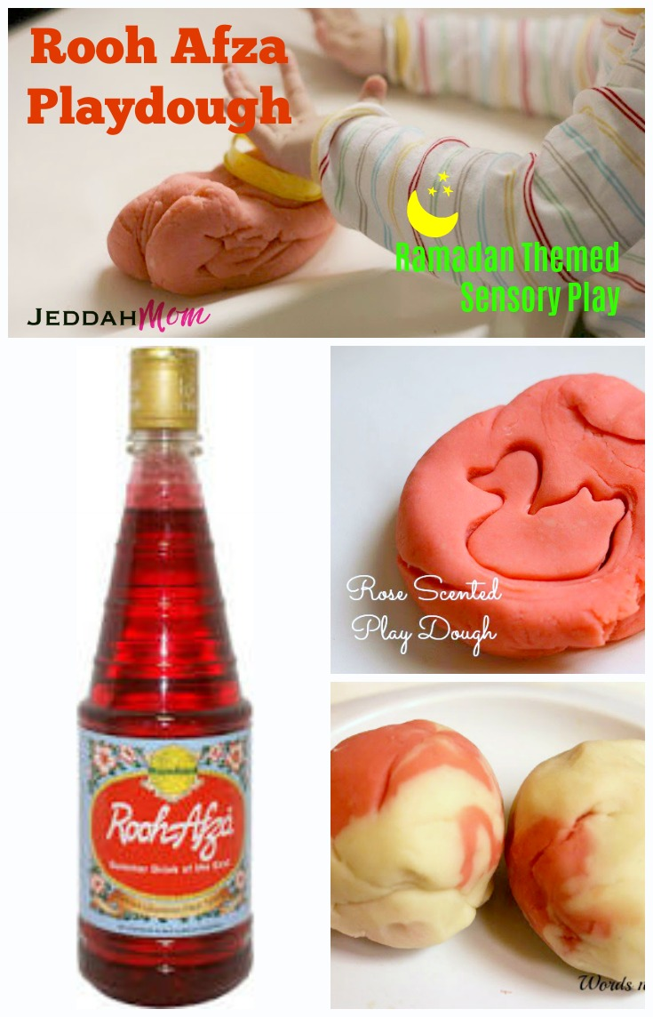Ramadan Themed Sensory play Ideas Rooh Afza scented Rose play dough