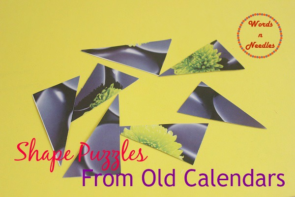 shape puzzles old calendar wordsnneedles