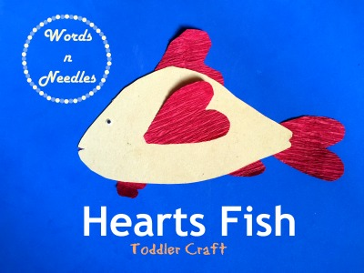 fish craft using crepe paper hearts