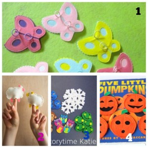finger puppets with felt butterfly pumpkins and sheeps