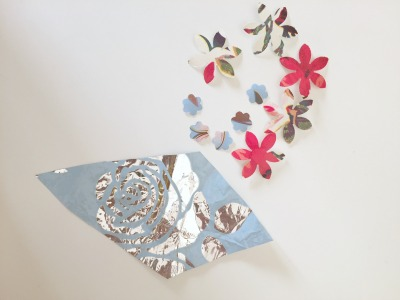 Gift Wrapping Paper Collage Using Flower Punch