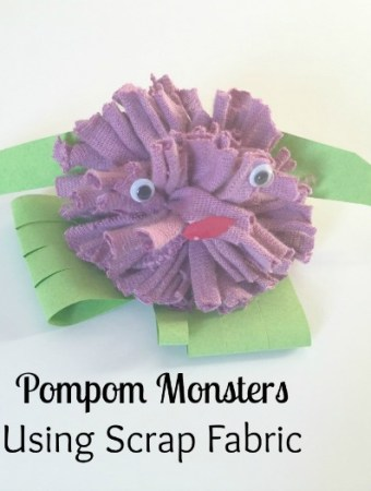 project recycle pompom monster scrap fabric junk play toddler preschooler book craft activity