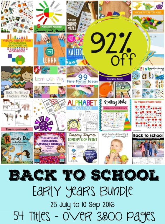 Back to school resources for homeschool, teachers and parents. Early learning pack