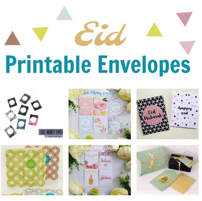Free Printable eid envelopes square